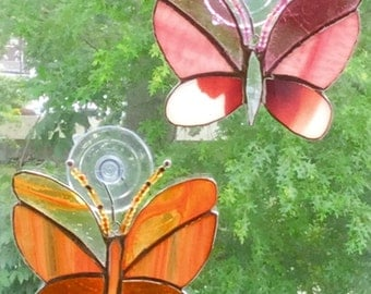 Multicolored Stained Glass Butterfly Suncatchers