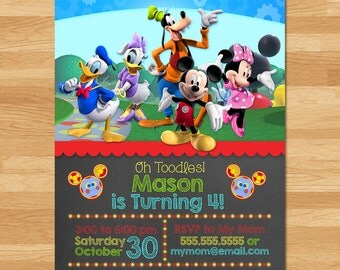 Mickey Mouse Clubhouse Invitation - Chalkboard - Mickey Mouse Invite - Mickey Mouse Clubhouse Printables - Mickey Party Favors V2