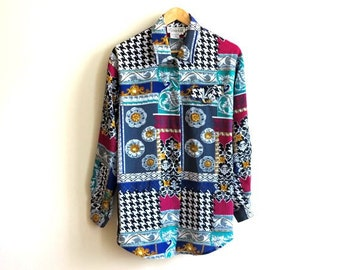 Vintage 1990s Blouse Multicolor Blouse Long Sleeves Blouse Baroque Print Blouse Houndstooth Print Womens Shirt Medium to Large Size