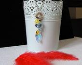 Collier pendentif Swarovski Edelweiss bleu et jaune