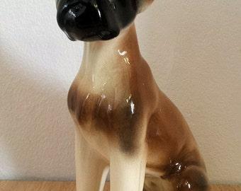 Porcelain vintage boxer dog figurine