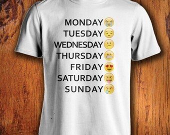 Men's Tshirt, Emoji Shirt, days of the week emoji shirt, emoticon shirt, shirt for work, emoji youth tshirt, birthday gifts for him
