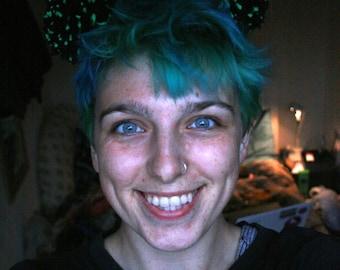 Black and green Pom Pom headband