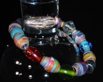 Paper Bead Stretch Bracelet