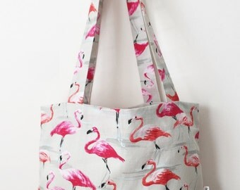 Flamingo Pink Red and Grey Patterned Women's Tote Bag