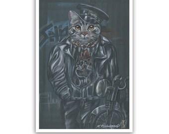 The Cat Biker / Rocker Cat Art Print / Cat Classics Gallery of Animal Century