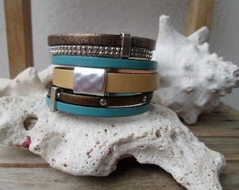 Cuff in leather, bandwidth Pearl, magnetic clasp bracelet