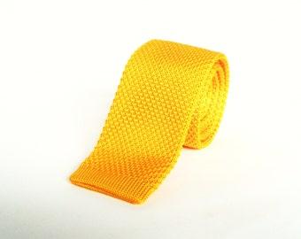 Mens Knitted Yellow Tie. Skinny Tie Wedding Tie Mens Gift