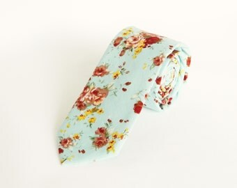 Pastel blue floral tie wedding tie gift for men pastel blue floral skinny tie groomsmen uk