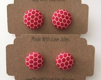 Gorgeous red honeycomb fabric covered earrings