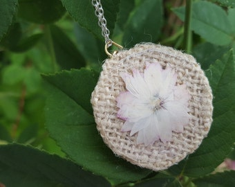 Nature art, handmade necklace pendant with pressed and dried large pink-tinged flower