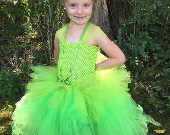 Girls Green TinkerBell Fairy Tulle Tutu Party Dress Halloween/Costume