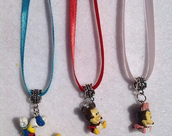 12 - Dozen Mickey Mouse Club House figures necklaces party favors