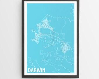 Darwin City Map Print - Various Colours / Australia / City Print / Gifts for Men / Australian Maps / Giclee Print / Poster