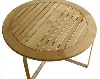 Indoor Outdoor Contemporary Teak and Aluminum Coffee Table