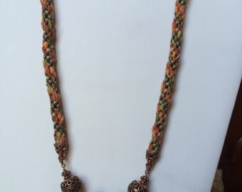 Green and copper kumihimo braided necklace