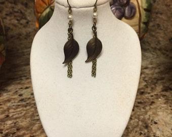 Vintaj Brass Leaf Earrings