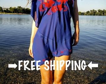 Summer Beach Kaftan//Cover Up - Unique Embroidered Sheer Beach Dress