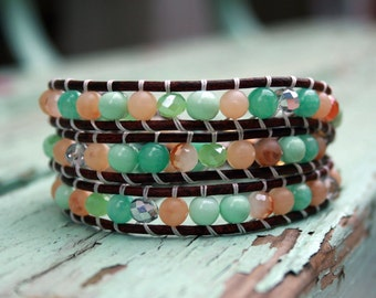 Beaded Leather Triple Wrap Bracelet with Gemstone and Crystal Beads