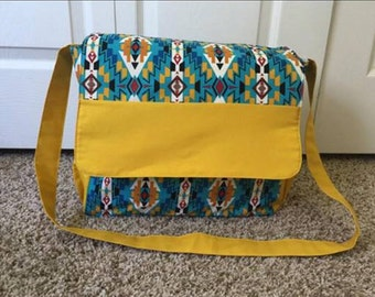 Yellow and Blue Aztec Diaper Bag