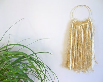 Gold Wall Hanging Cream Wall Hanging Home Decor Nursery Wall Hanging Nursery Decor Yarn Wall Hanging Yarn Fringe Woven Wall Hanging Yarn Art