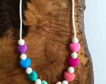 Kids'  Chewable Sensory Fidget Rainbow Hearts Necklace; Sensory Jewelry; Autism Jewelry; Fidget Jewelry Jewlery
