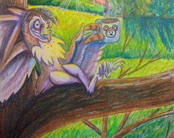 Breakfast of Champions- 4.5x6.5 inch ORIGINAL Colored Pencil Owl Drawing