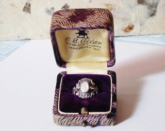 Antique Faux Leather Ring Box