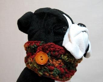 Crochet dog scarf, dog snood, Dog clothes,Animal scarf, Scarf for dog, Dog button snood, Dog cowl button scarf, Small dog scarf
