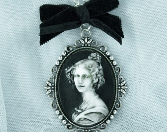 Haunted Lady Portrait Horror Halloween Cameo Necklace Custom Color available! Pendant Gothic Fantasy