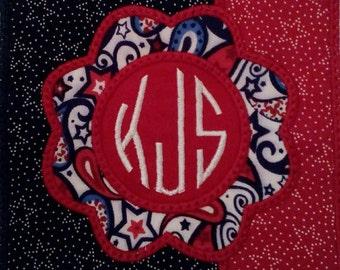 Patriotic Flower Applique Design on T-shirt