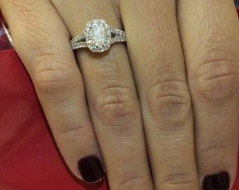 Designer Henry  daussi 1.50ct 18k white gold engagement ring
