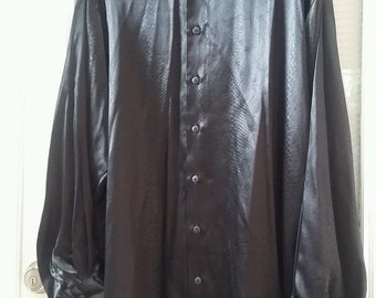 Vintage 70's Men's Black Satin Shirt with Snakeskin Print by Hutspah XL