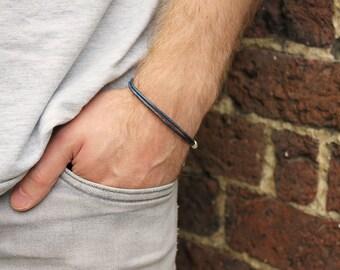 Men's Blue Leather Bracelet, Blue Bracelet For Men, Gifts for Men, Gift for him, Men's Jewellery, Unisex Bracelet