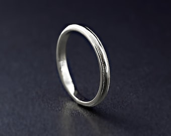 9ct/14ct/18ct White Gold Milgrain Edge Wedding Band 2mm width D Shape Wedding Ring