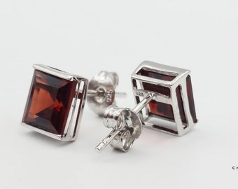 Garnet Square | Garnet Earrings | Garnet Stud Earrings | Red Stud Earrings | Red Stone Earrings | Sterling Silver Earrings