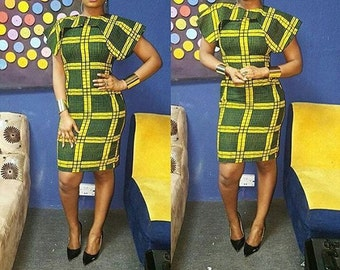 Knee Length Dress with Neck/Shoulder Detail, Ankara Short Dress