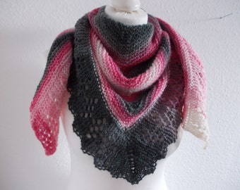 Cozy shawl with Angora - natural/pink/pink/grey