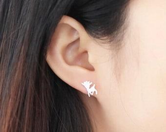 Cute 925 sterling silver baby deer stud earrings, Sterling silver baby deer, deer stud earrings, 925 silver jewelry, animal jewelry, deer