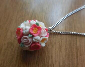 Necklaces floral bouquet. Pendant floral.Decoration on the neck.