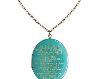 I'll always be with you... Patina Blue Engraved Vintage Oval Locket 46mm x 38mm