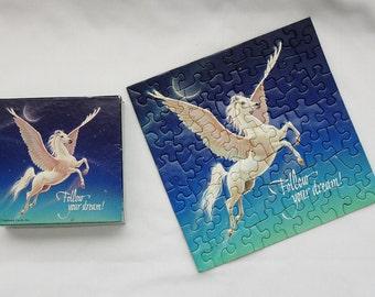 Winged Horse Pegasus Springbok Hallmark 7 x 7 Vintage Mini Jigsaw Puzzle, Follow Your Dream Pegasus, Small Puzzle Over 70 Pieces