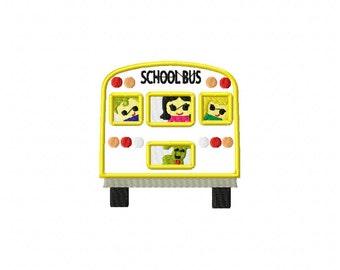 School bus applique design, school bus embroidery design, school embroidery, bus applique, school applique
