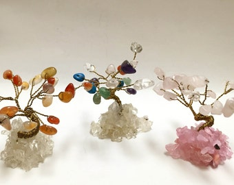 Miniature Gem Tree - Rose Quartz, Carnelian, Amethyst, Quartz, Aventurine