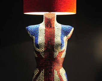 Mannequin Torso Table Lamp with glass beads, life size, British flag,  called HER