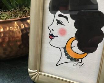 Framed Gypsy Lady Tattoo Original Painting