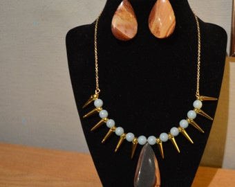 Blue and Gold Utah Wonderstone Spiked Necklace and Earring Set