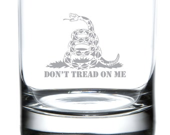 Don't Tread On Me - Etched Whiskey/Rocks Glass