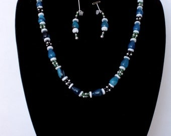 Turquoise and Green Glass Beaded Necklace and earring set