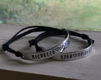 Couples Bracelets With Names - Custom Date Bracelet - Personalized Couples Jewelry for Him and Her - Engraved Couples Jewelry